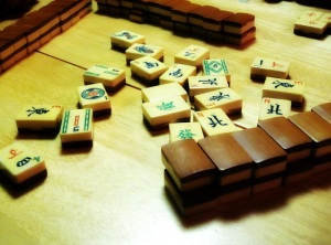 Bamboo-backed ivory mahjongg tiles.